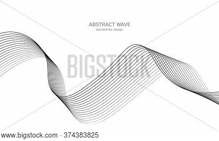 Abstract Wave Element For Design. Digital Frequency Track Equalizer. Stylized Line Art Background. V