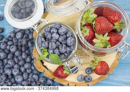 Fresh Fruits. Healthy Food. Mixed Fruit, Strawberries And Blueberries, Peaches. Studio Photography O