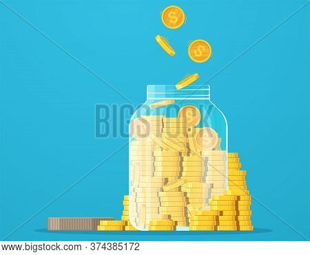 Jar With Gold Coins. Dollar Coin Saving, Money Saving, Crisis, Investment.