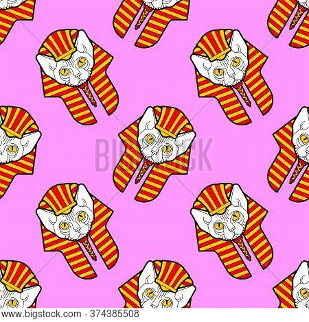 Sphynx Cat In Nemes Pattern Seamless. Cat Pharaoh Background. Ancient Egypt Ornament