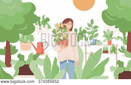 Happy Smiling Woman Standing In The Garden And Holding A Pot With Lemon Tree Vector Flat Illustratio
