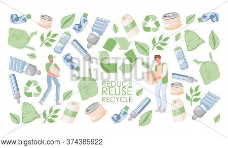 Reduce, Reuse, And Recycle Vector Flat Banner Template. Men Holding Waste. Garbage, Plastic Bags, Ca