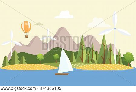 Summer Nature Landscape With Ship, Air Balloons, And Wind Turbines Vector Flat Illustration. Hills,