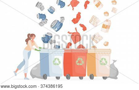 Separate Recycling Waste Vector Flat Illustration. Young Smiling Woman Gathering Garbage In Containe