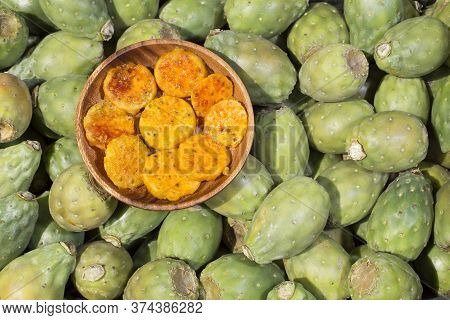 Fruit Of The Cactus. Top View - Opuntia Ficus Indica