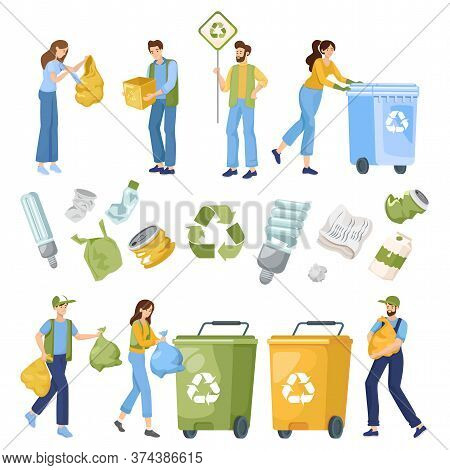 Reduce, Reuse, And Recycle Objects. People Put Recycling Waste In Containers, Collect, And Sort Garb