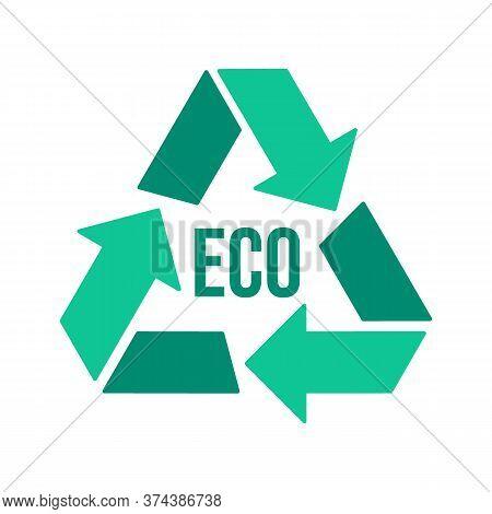 Recycling Reuse Eco Green Icon. Reduce Consumption, Circular Arrows. Processing Eco Sign. Vector Gra