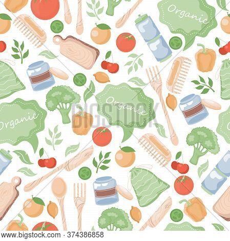 Organic Seamless Pattern. Vegetables, Bell Pepper, Tomato, Lemon, Cherry, Wooden Tableware And Leave