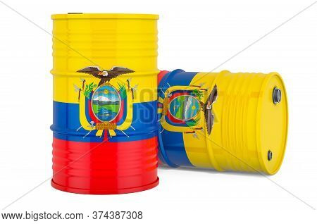 Steel Drum, Barrel With Ecuadorian Flag, 3d Rendering Isolated On White Background