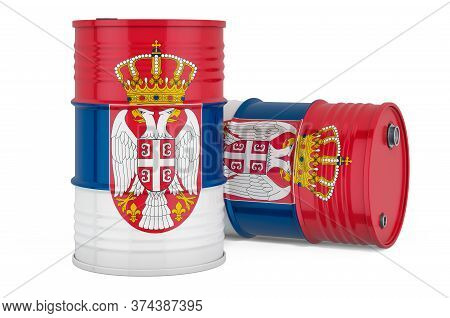 Steel Drum, Barrel With Serbian Flag, 3d Rendering Isolated On White Background