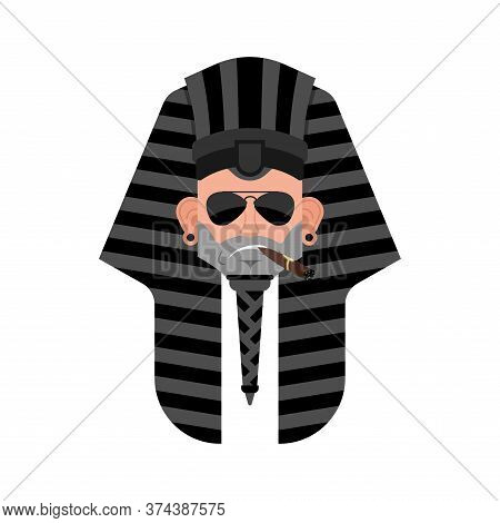 Pharaoh Cool Serious Avatar Of Emotions. Rulers Of Ancient Egypt Smoking Cigar Emoji.
