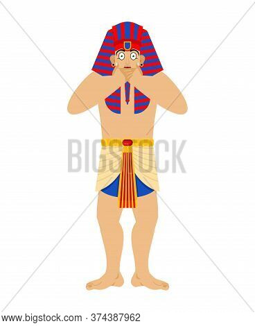 Pharaoh Scared Omg. Rulers Of Ancient Egypt Oh My God. Vector Illustration