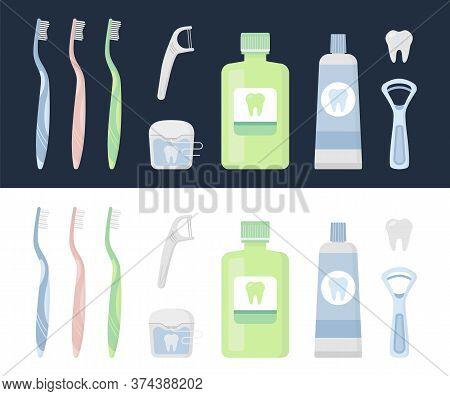 Flat Vector Illustration Set Of Tooth, Brush, Paste, Floss, Irrigator, Waterpick, Mouthwash, Tongue