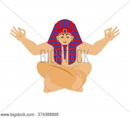 Pharaoh Yoga. Rulers Of Ancient Egypt Yogi Isolated. Relaxation And Meditation. Vector Illustration