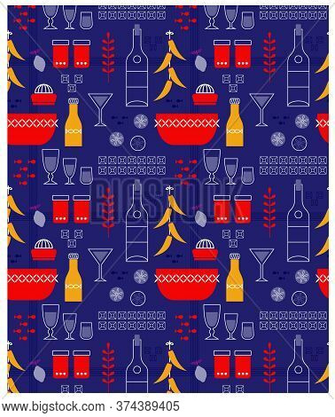Kitchen Pattern Flat Illustration. Kitchen Seamless Patterns And Surface Design Series.