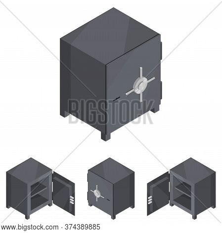 Safe Isometric. A Beautiful New Iron Black Armored Box For Storing Valuables.