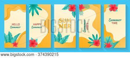 Set Of Social Media Stories Summer Background Template. Collection Set Of Social Media Stories Desig