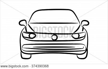 Sedan Car Line Art Vector Icon Monochrome Illustration. A Hand Drawn Vector Line Art Of A Sedan Car.