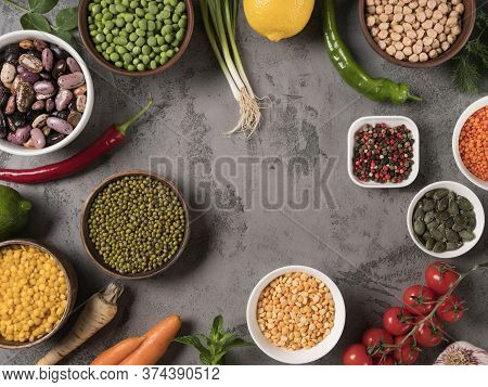 The Concept Of Healthy Eating. Fresh Vegetables And Beans In Stock.