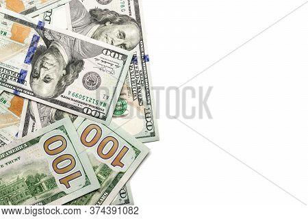 Money Background. One Hundred Dollars Of America. Usd Cash Money Isolated On White.