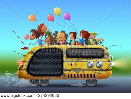 Back To School Illustration With Kids In Yellow Bus As Radio Drawing Art In Vector. Students And Chi