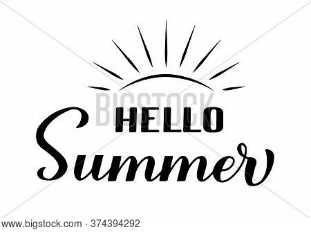 Hello Summer Calligraphy Lettering Isolated On White. Inspirational Seasonal Quote Typography Poster