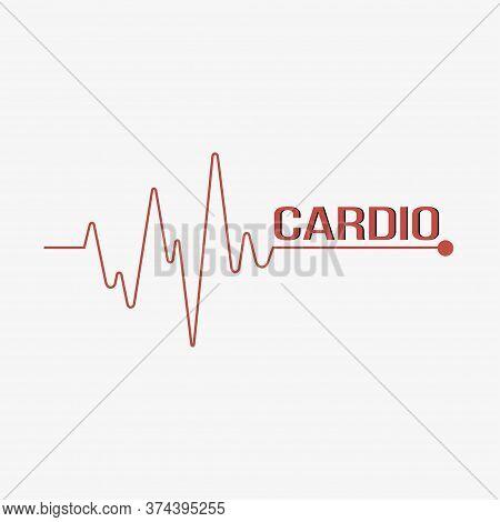 Line Heartbeat. Pulse Trace. Cardio Symbol. Vector Illustration.