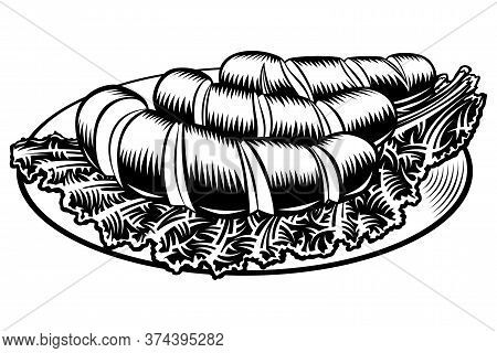 Grilled Incised Sausages With Leaf Lettuce On A Plate. Traditional Beer Snack In Restaurants And Pub