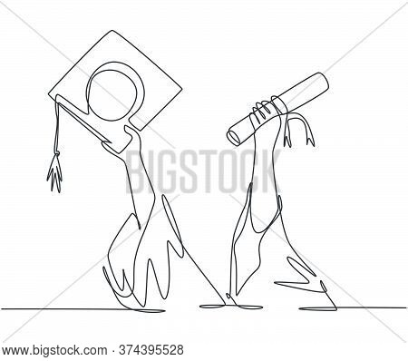 One Single Line Drawing Of Young Happy Graduate College Students Lift Up A Graduation Letter Paper R