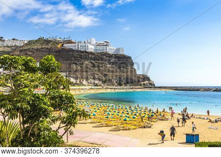 Canary Islands, Spain - December 12, 2018: Picturesque Amadores Beach (spanish: Playa Del Amadores)