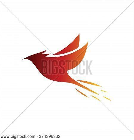 Phoenix Logo Simple Flying Bird Animal Vector Graphic Design Template Idea
