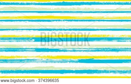 Watercolor Brush Stroke Parallel Lines Vector Seamless Pattern. Messy Maritime Shirt Textile Design.