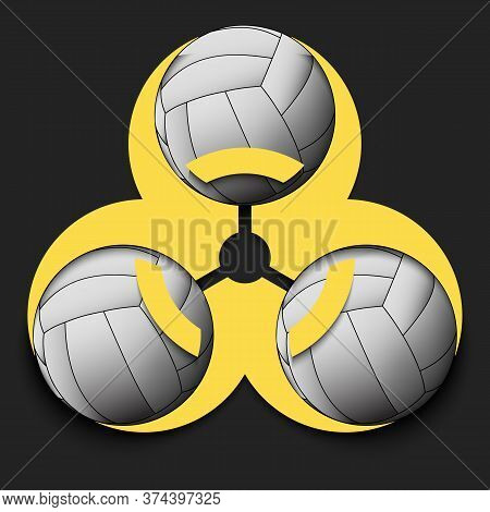Biohazard Symbol With Volleyball Ball. Caution Biological Danger Toxic Sign. Volleyball Quarantined.