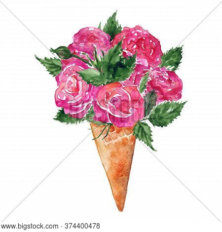 Watercolor Flower Bouquet Peony Rose Carnation Ice-cream Waffle Sweet Dessert Isolated