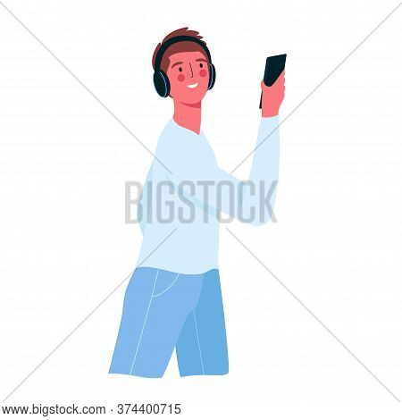 A Happy Man Holding A Phone. Man Using A Smartphone, Listening To Music Through Headphones. Person A