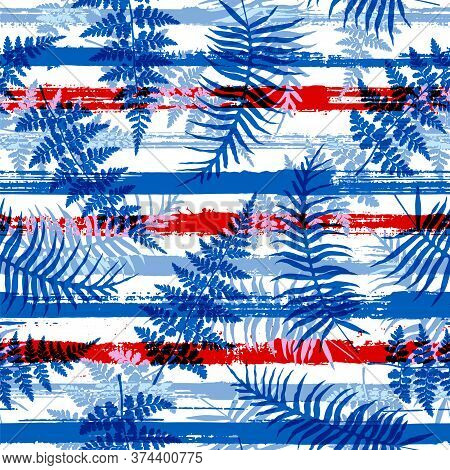 Tropical New Zealand Fern Frond And Bracken Grass Overlaying Stripes Vector Seamless Pattern. Madaga