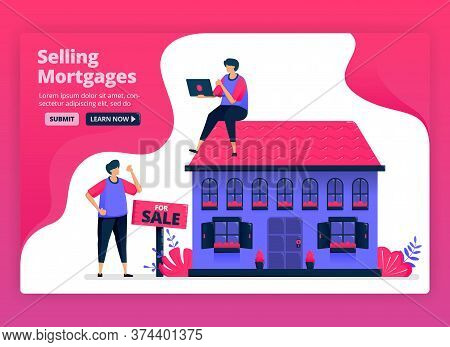Vector Illustration Of Selling And Buying Property And Real Estate With Cheap Mortgages. Funding For
