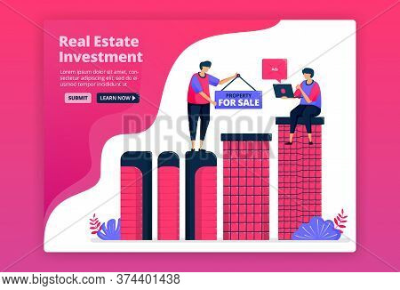 Vector Illustration Of Investing By Buying Urban Property, Real Estate Or Apartments. Increase Wealt