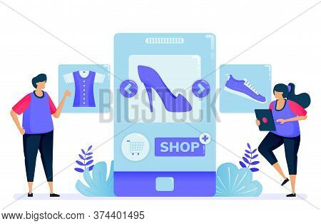 Vector Illustration For Shopping With Mobile Apps For Fashion Products. Open A Shop And Become A Sel