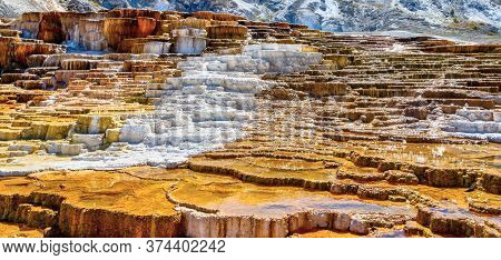 Panoramic Close Up Of Jupiter And Mound Terraces At Mammoth Hot Springs In Yellowstone National Park