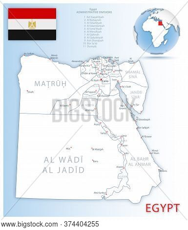 Detailed Map Of Egypt Administrative Divisions With Country Flag And Location On The Globe.