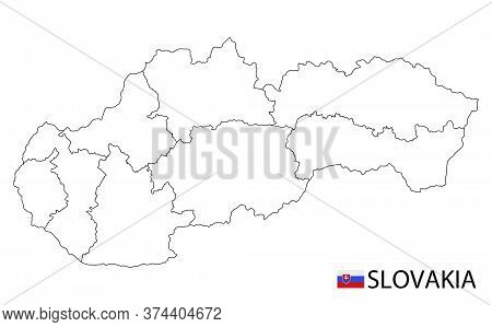 Slovakia Map, Black And White Detailed Outline Regions Of The Country.