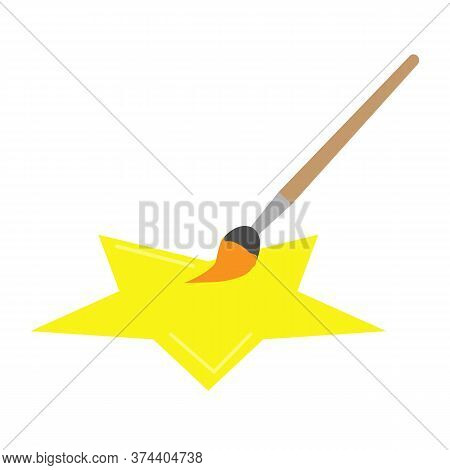 Paintbrush And Stain Of Paint Icon On White Background. Paintbrush And Star Sign. Flat Style.