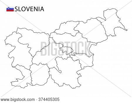 Slovenia Map, Black And White Detailed Outline Regions Of The Country.