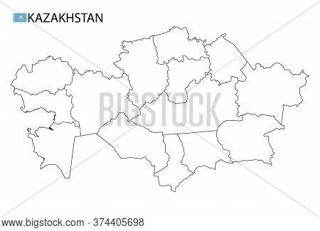 Kazakhstan Map, Black And White Detailed Outline Regions Of The Country.