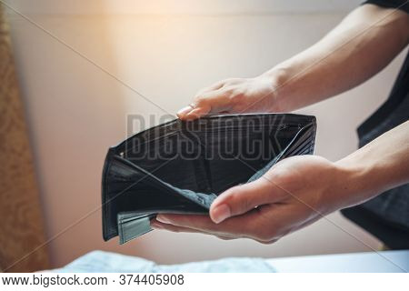 Wallet Empty Hands Of Homelessness Holding Open Blank Pocket Poor People. Unemployed Man Showing Emp
