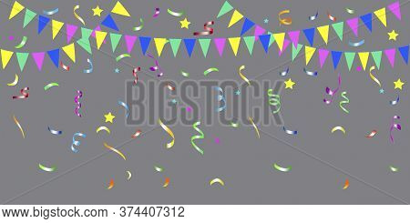 Bunting For The Holidays. Flag Template With Serpentine. Festive Party Background. Vector Image.