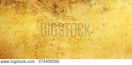 Abstract Gold Background Texture With Distressed, Grunge Watercolor, Vintage Background  With Rough