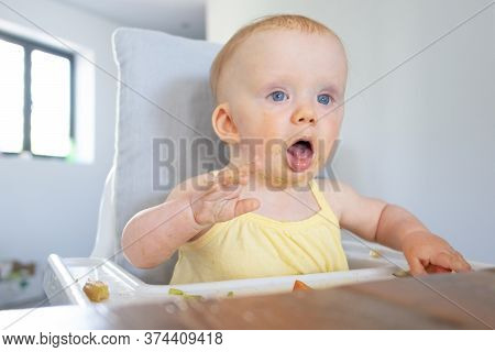 Cute Baby Girl With Puree Smudges On Face Sitting In Highchair With Food Messy On Tray, Opening Mout