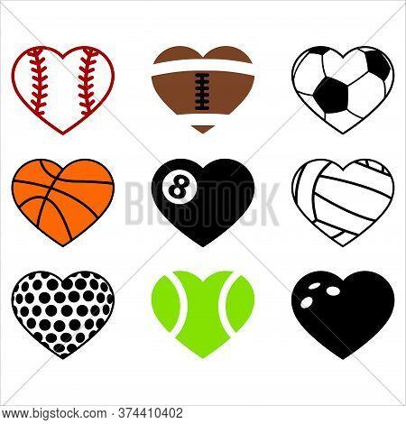 Sports Hearts, Baseball, American Football, Gridiron, Basketball, Billiard, Pool, Volleyball, Golf,